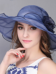 Women Summer Foldable Outdoors Shade Blue Lace Tourism Beach Flowers Big Brimmed Hat