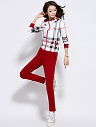 Pantalon Costumes Femme,Rayé Décontracté / Quotidien / Grandes Tailles simple Automne Manches Longues Capuche Bleu / Rouge / Marron / Gris