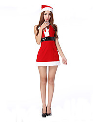 Cosplay Costumes Santa Suits Movie Cosplay Red Solid Dress / Hat / Scarf Christmas Female Polyester
