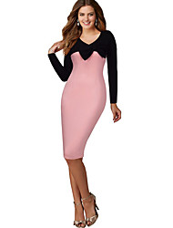 Women's Bridal Shower Cute Sheath Dress,Patchwork V Neck Midi / Neckline to hem measures 21.5 inch Long Sleeve Pink Cotton Fall High Rise