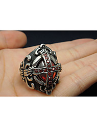 Band Rings Ruby Gemstone Titanium Steel Cross Fashion Black Jewelry Wedding Party Daily 1pc