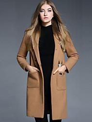 Feminino Casaco Casual Simples Outono / Inverno,Bordado Marrom Lã / Poliéster Lapela Chanfrada-Manga Longa