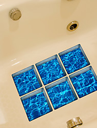 Blue Ripple 3D Bathroom Non-Slip Stickers The Floor Tile Individuality Decorative Stickers
