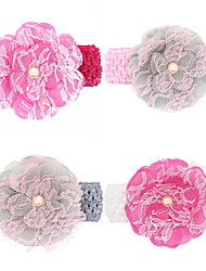 4Pcs/set Baby Girls Lace Flower Wide Headband Todder Hair Accessories Infant Hairband