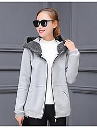 Damen Standard Strickjacke-Lässig/Alltäglich Einfach Solide Schwarz Grau Mit Kapuze Langarm Baumwolle Winter Mittel Mikro-elastisch
