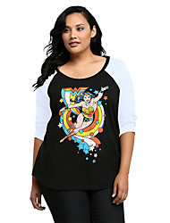 Women's Plus Size / Going out / Casual/Daily Cute / Street chic Loose Spring / Fall T-shirtPrint Round Neck  Sleeve