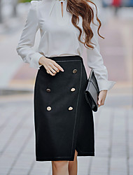 Women's Pencil / Bodycon Solid Split / 十字交叉 Skirts,Going out / Casual/Daily / Party/Cocktail Sexy / Cute / Street chic High Rise