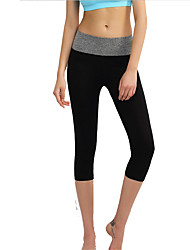 Yoga Pants 3/4 Tights Breathable / Comfortable Natural Stretchy Sports Wear Black Women's Sports Yoga / Pilates