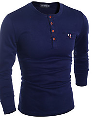 Men's Casual/Daily Simple Shirt,Solid Round Neck Long Sleeve Blue / Black / Gray Rabbit Fur