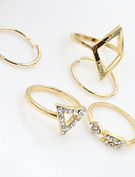 Midi Rings Crystal Turquoise Alloy Fashion Silver Golden Jewelry Party Halloween Daily Casual 1set