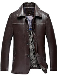Men's Casual/Daily Simple Leather Jackets,Solid Shirt Collar Long Sleeve Winter Black / Brown PU Thick