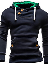 Men's Casual/Daily / Sports / Holiday Active Regular Hoodies,Solid Blue / Black / Gray Hooded Long Sleeve Cotton Fall / Winter Medium