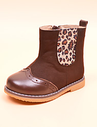 Girl's Boots Winter Others Leather Casual Flat Heel Brown Walking
