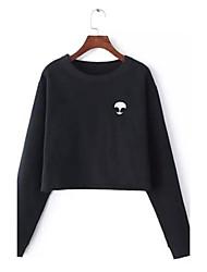 Damen Solide Einfach Lässig/Alltäglich T-shirt,Rundhalsausschnitt Herbst / Winter Langarm Schwarz / Grau Polyester Mittel