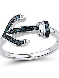 Women's Fashion Sterling Silver set with Blue Diamond Ring
