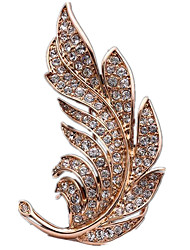 Women's Brooches Simulated Diamond Feather Gold Silver Golden Jewelry Daily