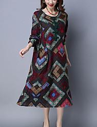 Ample Robe Femme Décontracté / Quotidien Chinoiserie,Géométrique Col Arrondi Midi Manches Longues Rouge / Jaune PolyesterToutes les