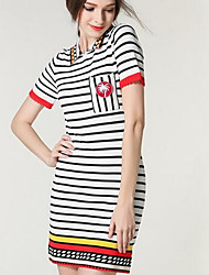 Women's Going out Cute Sweater Dress,Check Round Neck Above Knee Short Sleeve White / Black Cotton / Polyester Winter Mid Rise