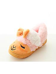 Kids' Girls' Baby Slippers & Flip-Flops Comfort Fleece Winter Casual Comfort Flat Heel Yellow Brown Green Blushing Pink Flat