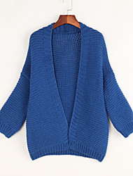 Women's Casual/Daily Simple Loose Slim Long Cardigan,Solid Blue / Red / Yellow Cowl Long Sleeve