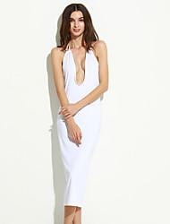 Gaine Robe Aux femmes Sortie Sexy,Couleur Pleine Licou Midi Sans Manches Blanc / Beige / Noir Polyester Eté