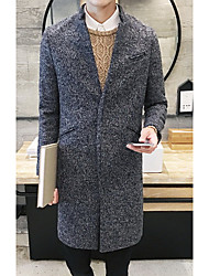 Men's Going out / Beach / Holiday Simple / Active Coat,Solid Shirt Collar Long Sleeve Fall / Winter Gray Wool Medium