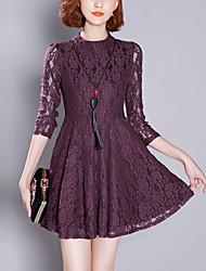Feminino Evasê / Rendas Vestido, Para Noite Moda de Rua Sólido Colarinho Chinês Mini Manga ¾ Azul / Vermelho Poliéster PrimaveraCintura
