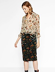 Women's Bodycon Print Skirts,Going out / Casual/Daily Simple / Chinoiserie Mid Rise Knee-length Zipper Rayon Micro-elastic Fall
