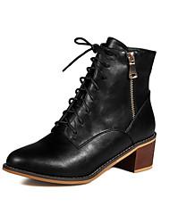 Women's Solid Kitten-Heels Round Closed Toe PU Zipper Boots