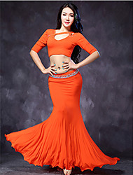 Belly Dance Outfits Women's Training Modal Pleated / Ruffles 2 Pieces Half Sleeve Dropped Top / Skirt