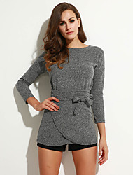 Women's Casual/Daily Sexy Loose Dress,Solid Round Neck Asymmetrical Long Sleeve Gray Fall