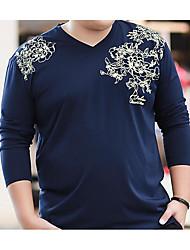 Tee-shirt Hommes,Couleur Pleine Décontracté / Quotidien simple Printemps / Automne Manches Longues Col en V Bleu Coton Moyen