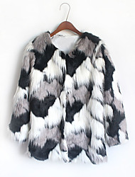 Women's Casual/Daily Simple Fur Coat,Print Round Neck Long Sleeve Winter Black Faux Fur Thick