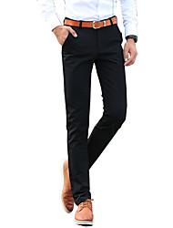 Men's Straight / Slim Chinos Pants,Casual/Daily / Work Solid Low Rise Zipper Cotton Micro-elastic Fall / Winter