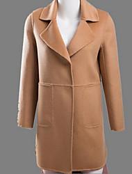 Women's Casual/Daily Simple Coat,Solid Long Sleeve Winter Red / Beige Wool Medium