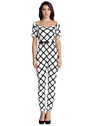 Women's Petite Slim Jumpsuits,Going out / Casual/Daily / Holiday Sexy / Simple / Street chic Geometric / Rainbow / Check Boat NeckShort