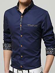 Men's Going out / Formal / Club Sexy / Cute / Chinoiserie Fall Shirt,Solid Shirt Collar Long Sleeve Blue / White / Gray / Green / Yellow