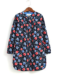 Women's Formal Cute / Chinoiserie All Seasons Shirt,Print Round Neck Long Sleeve Multi-color Cotton