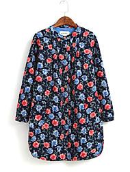 Feminino Camisa Social Formal Fofo / Temática Asiática Todas as Estações,Estampado Colorido Algodão Decote Redondo Manga Longa