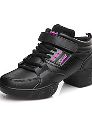 Non Customizable Women's Dance Shoes Leather Leather Jazz / Dance Sneakers / Modern Sneakers Cuban Heel Practice / Outdoor / Performance