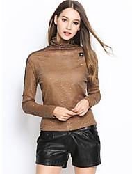 Tee-shirt Femme,Couleur Pleine Sortie / Décontracté / Quotidien simple / Chic de Rue Printemps / Automne Manches Longues Col Ras du Cou