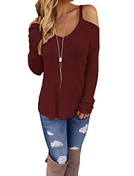 Women's Casual/Daily Going out Sexy Regular Pullover,Solid Red Green V Neck Long Sleeve Polyester Spandex Fall Winter Medium Micro-elastic