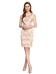 TS Couture® Cocktail Party Dress - Ivanka Style / Celebrity Style Sheath / Column Jewel Knee-length Lace with Appliques