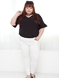 Feminino Tamanhos Grandes Skinny Chinos Calças-Cor Única Casual Simples Cintura Média Elasticidade Algodão / Poliéster StretchyOutono /