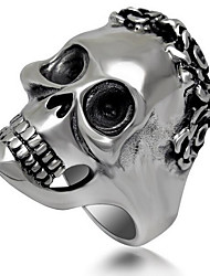 Ring Schmuck Titanstahl Totenkopfform Punkstil Silber Schmuck Halloween 1 Stück
