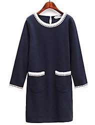 Fashion large size women Long sleeves Round neck  Loose Daily leisure Go shopping Dress