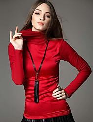 Feminino Camiseta Informal / Trabalho Simples / Moda de Rua Inverno,Sólido / feito à mão Azul / Vermelho / PretoPoliéster / Fibra