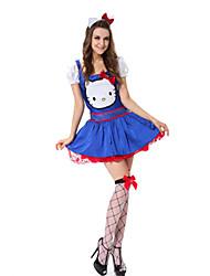 Costumes de Cosplay Costumes de père noël Fête / Célébration Déguisement Halloween Bleu Mosaïque Robe / Plus d'accessoires Noël Féminin