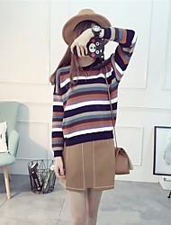 Damen Standard Pullover-Ausgehen Lässig/Alltäglich Urlaub Einfach Gestreift Blau Rosa Weiß Gelb Lila Rundhalsausschnitt Langarm Polyester