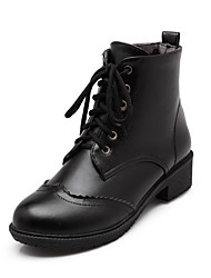 Women's Round Closed Toe Low Top Low Heels Solid Pu Boots